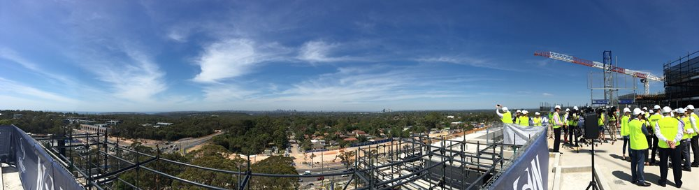 Shot of Northern Beaches Hospital from the Topping Out Ceremony